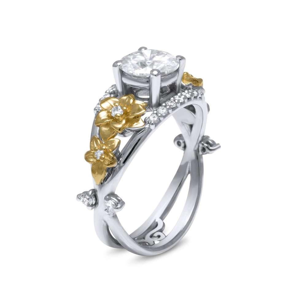 Flower Design Moissanite Engagement Ring 14K 2 Tone Gold Moissanite Ring Diamond Alternative Engagement Ring