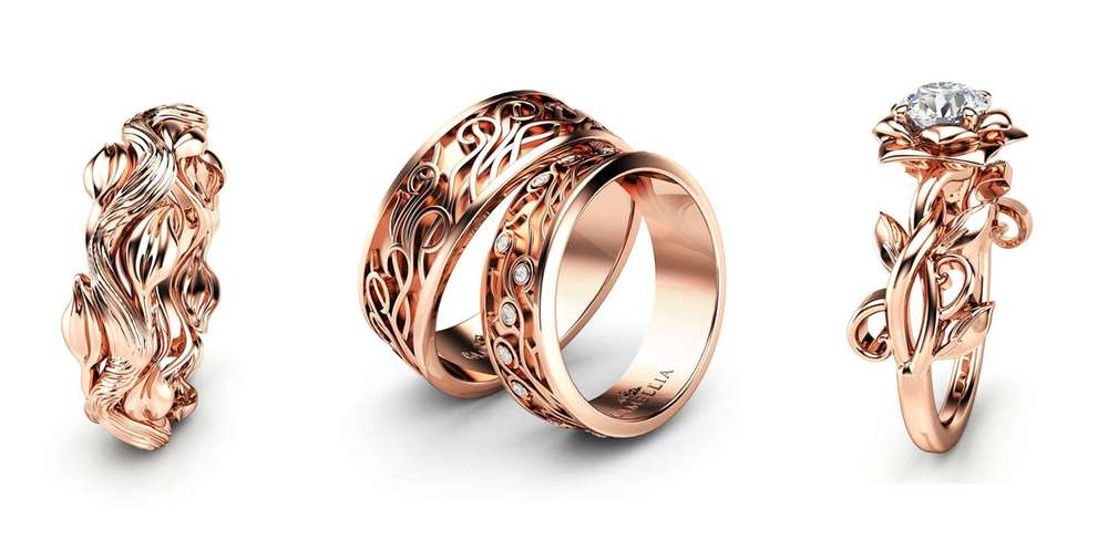 rose gold wedding rings by camellia jewelry