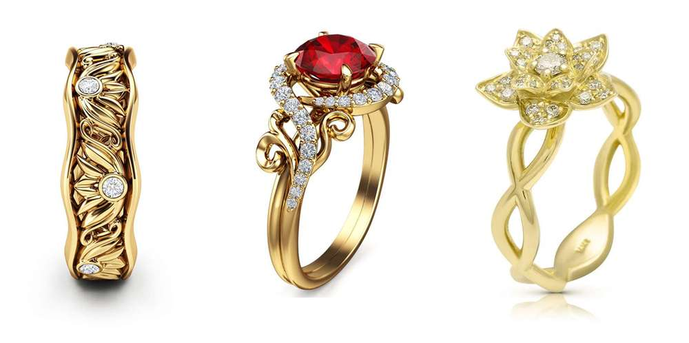 yellow gold engagement rings camellia jewelry