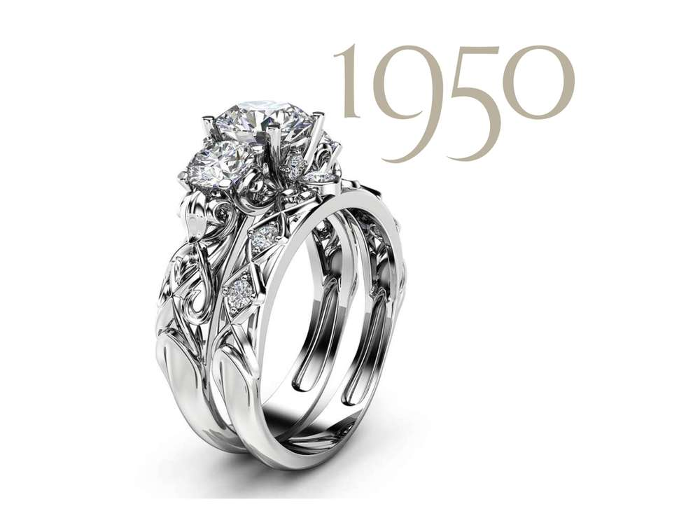 3-stone moissanite bridal set by camellia jewelry