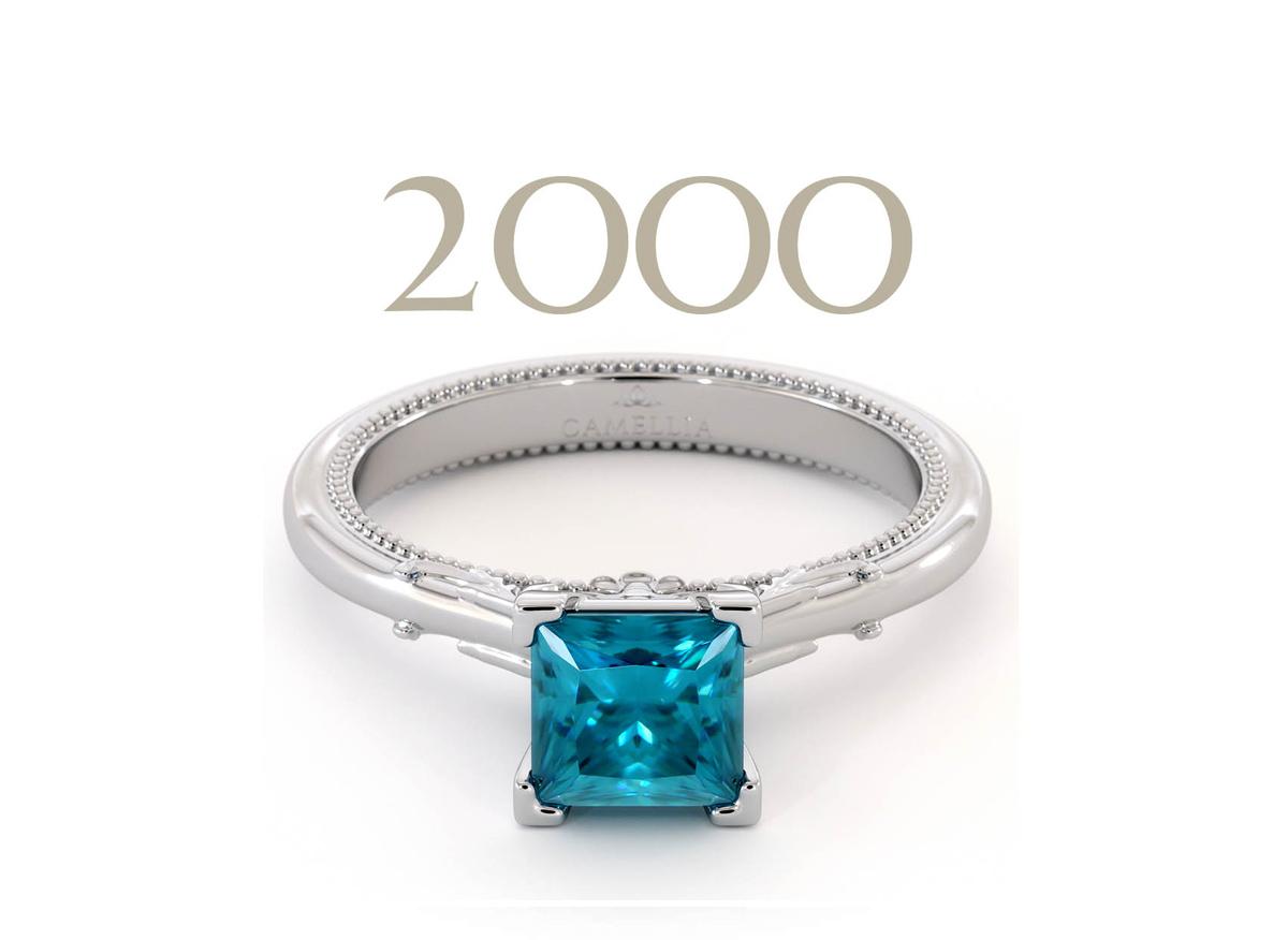 blue diamond princess cut engagement ring camellia jewelry