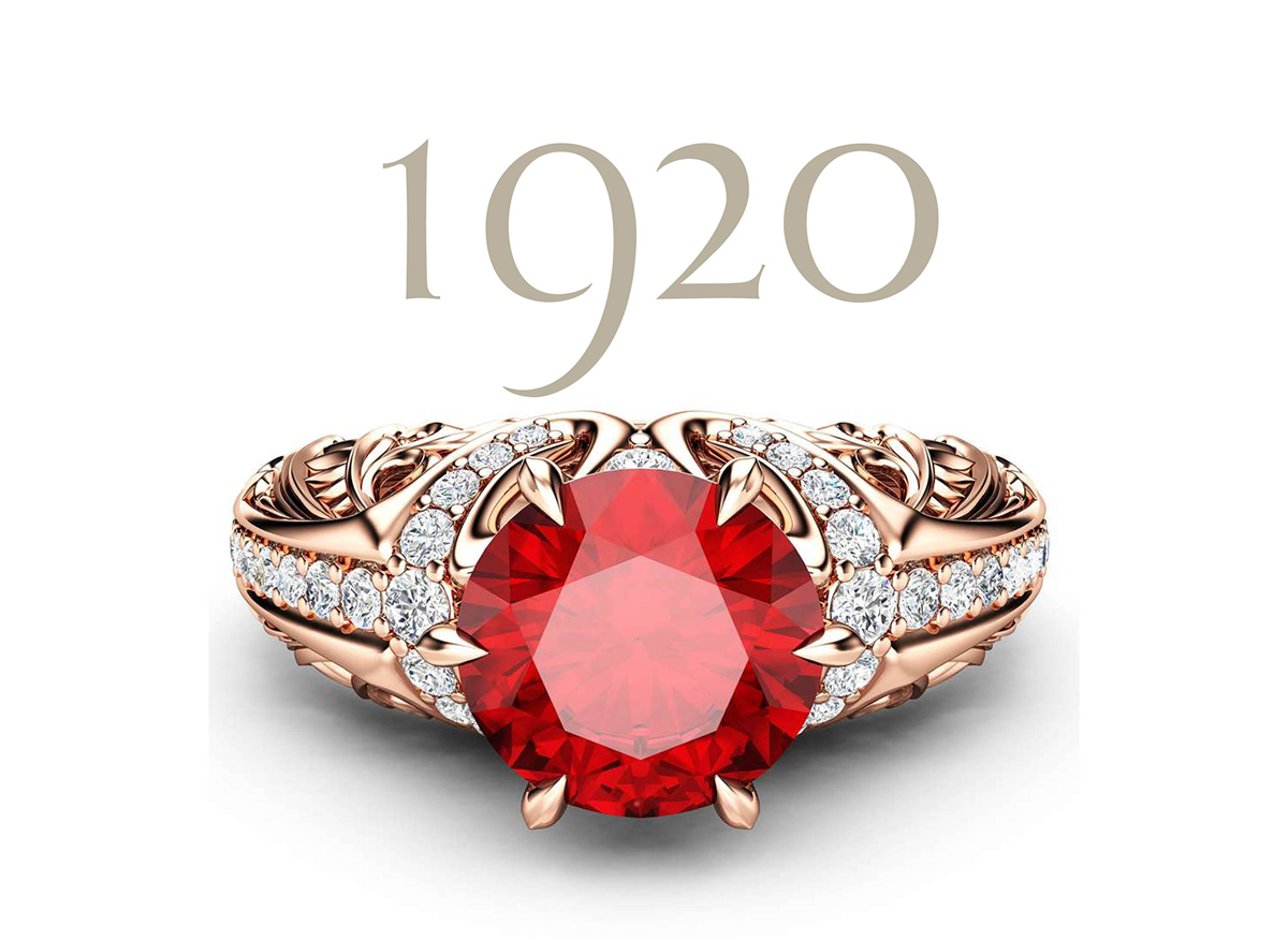 art deco ruby vintage engagement ring camellia jewelry
