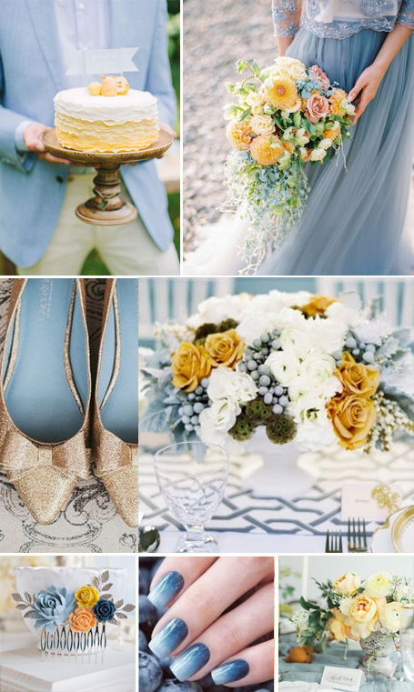 dusty blue and yellow color palette wedding
