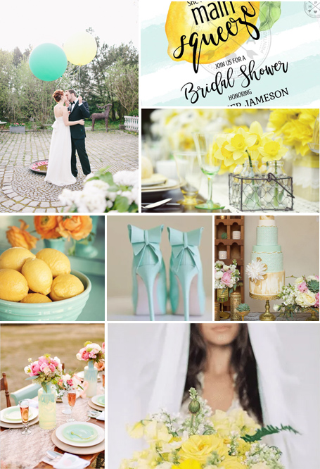 yellow and mint palette wedding