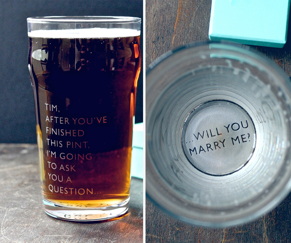 proposal ideas beer glass