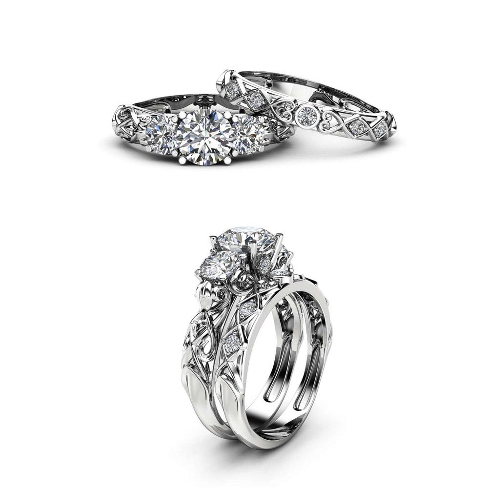 Unique Three Stone Moissanite Bridal Set 14K White Gold Rings