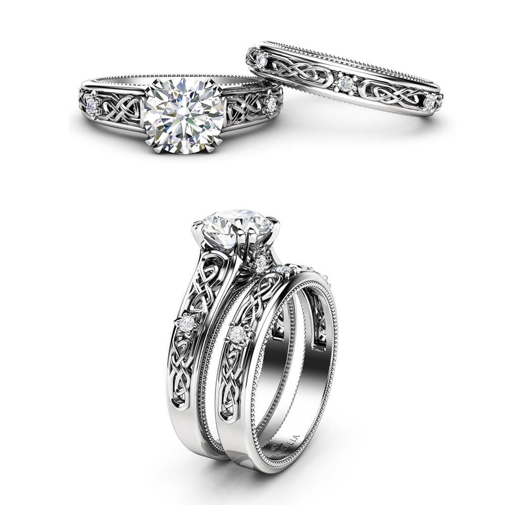 White Gold Moissanite Engagement Ring Set