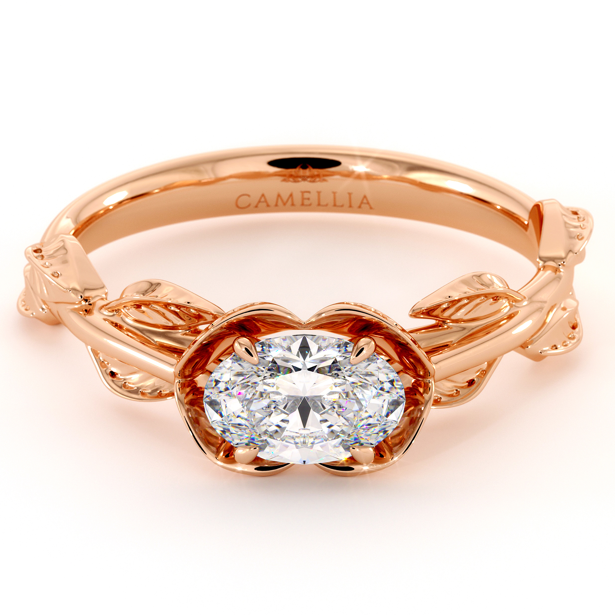 Oval Cut Moissanite Engagement Ring East To West Engagement Ring Rose Gold Leaves Wedding Ring