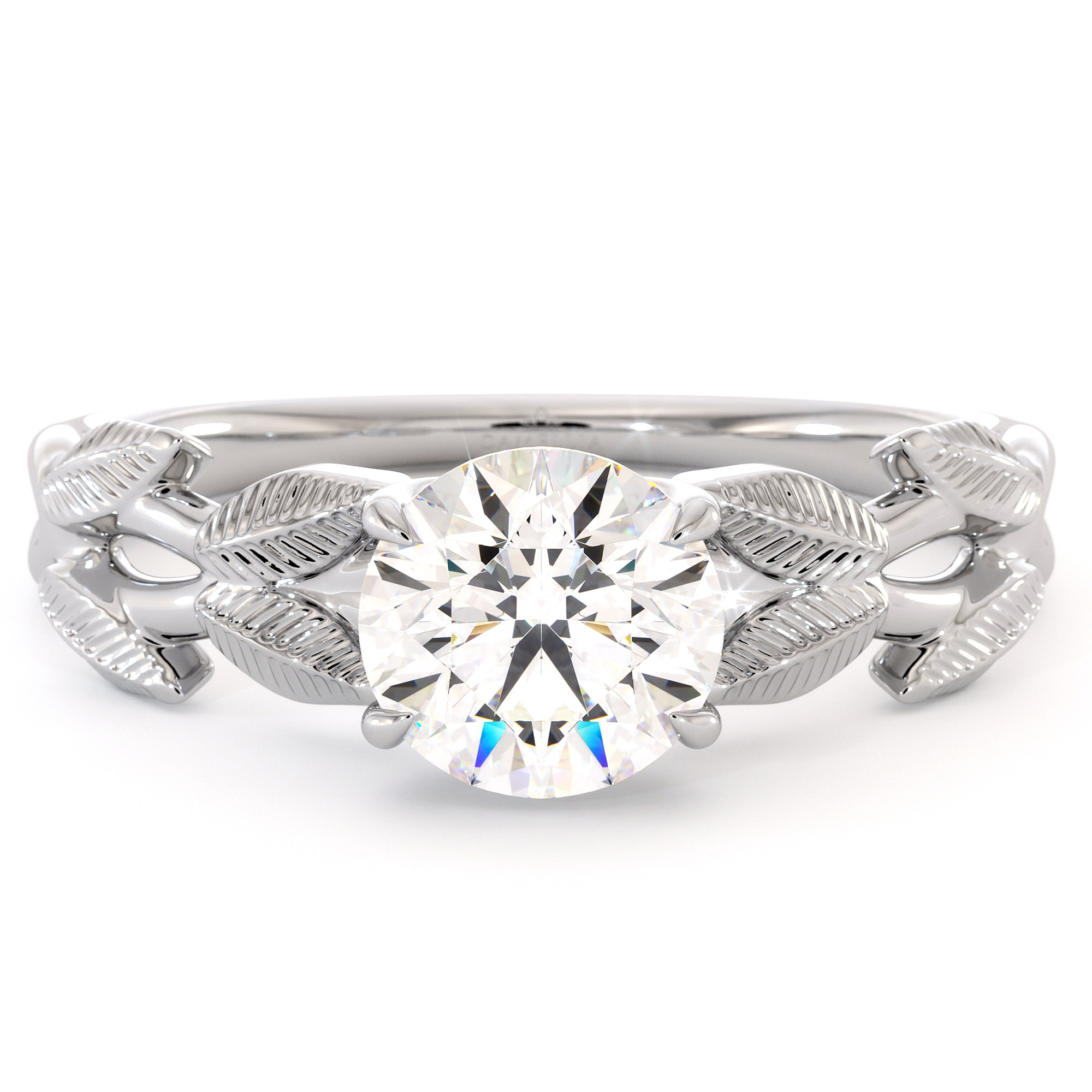 Leaves Ring Moissanite Engagement Ring Unique Leaf White Gold Ring Moissanite  Anniversary Ring