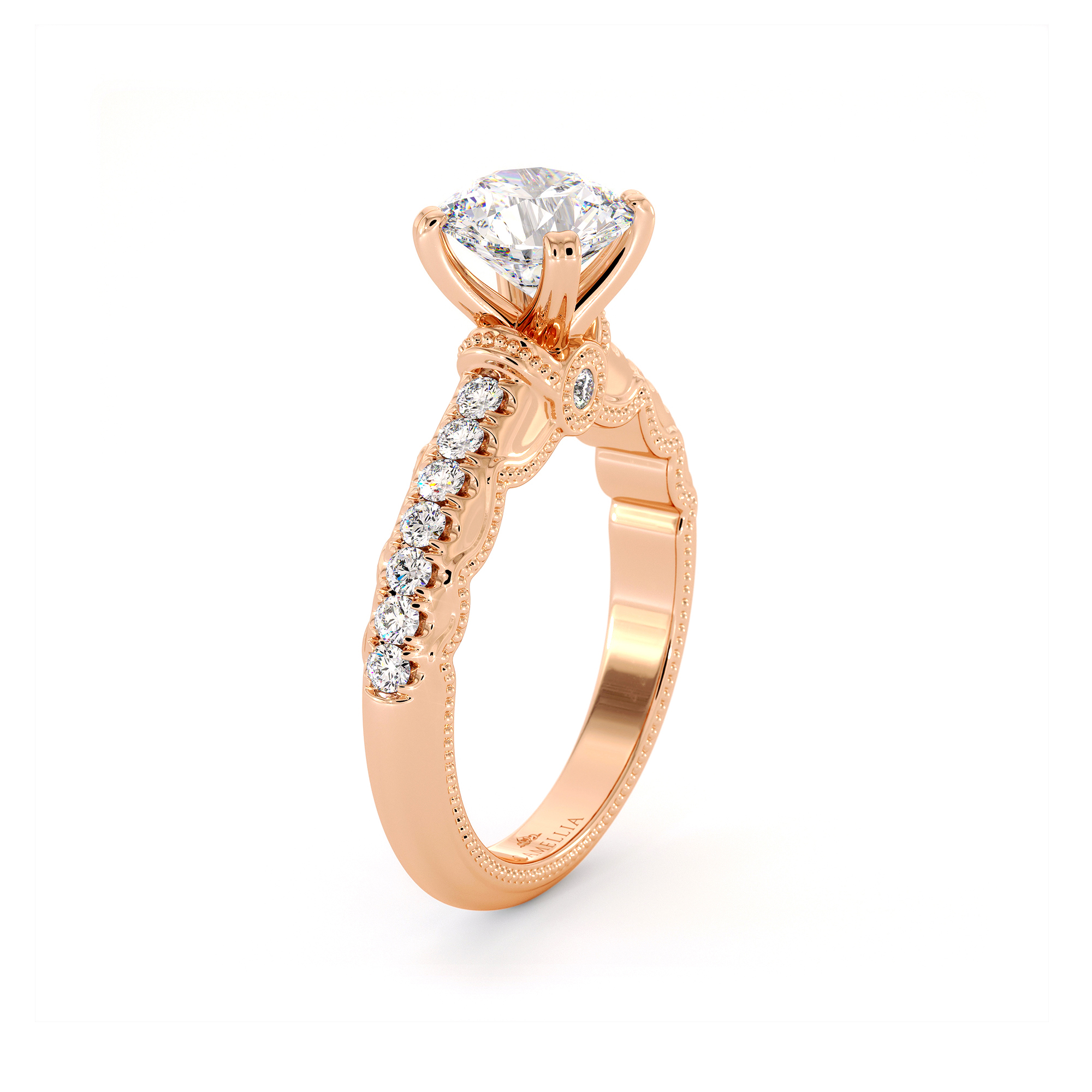 Diamond Pave Engagement Ring 14K Rose Gold Ring Victorian Bridal Ring Moissanite Engagement Ring