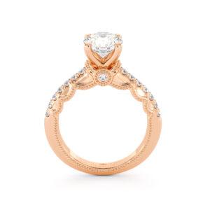 Diamond Pave Engagement Ring 14K Rose Gold Ring Victorian Bridal Ring Moissanite Engagement Ring
