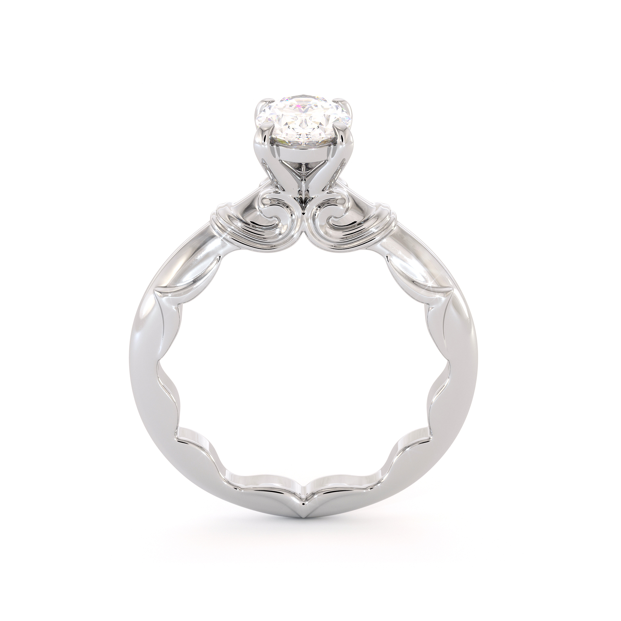 Solitaire 1.5 Ct Diamond Engagement Ring Oval Cut  Moissanite White Gold Ring