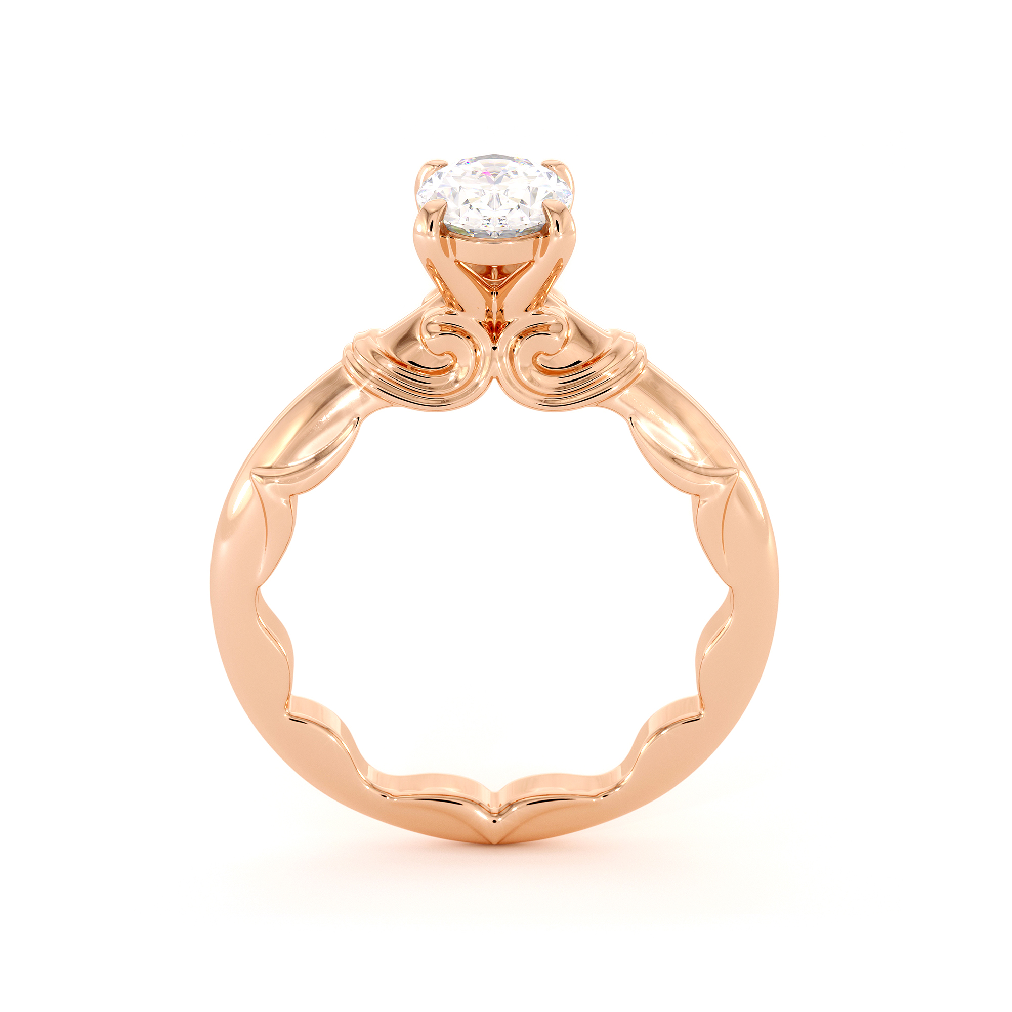 Solitaire Diamond Oval Engagement Ring Lab Grown Diamond Rose Gold Ring 1-1.5 Ct Diamond Ring