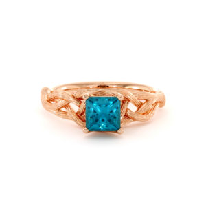 Twisted Branch Blue Diamond Ring 14K Rose Gold Nature Ring Princess Cut Diamond