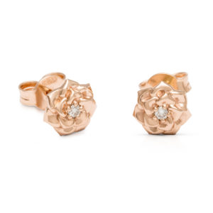 Small Diamond Flower Earrings Dainty Diamond Stud Earrings in Rose Gold