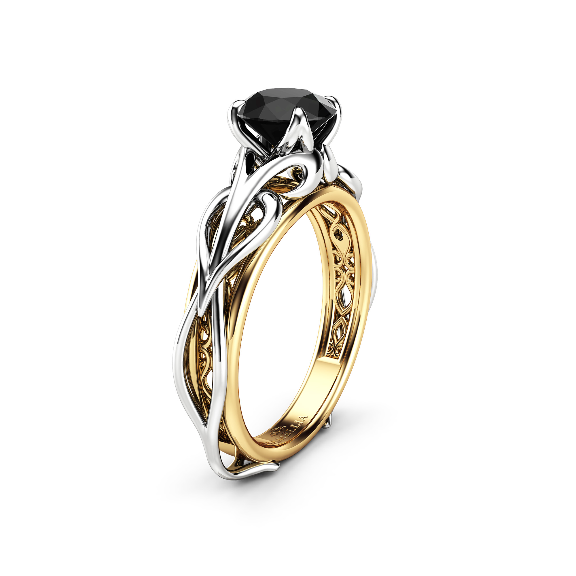 Unique Solitaire Black Diamond Engagement Ring 14K Two Tone Gold Diamond Ring Swirl Design Engagement Ring
