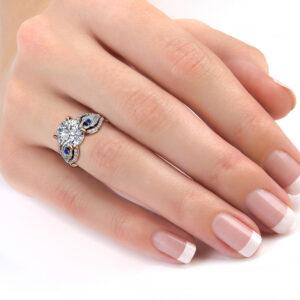 Peacock Feather Design 14K Rose & White Gold Engagement Ring 3.60 Carat Moissanite Engagement Ring