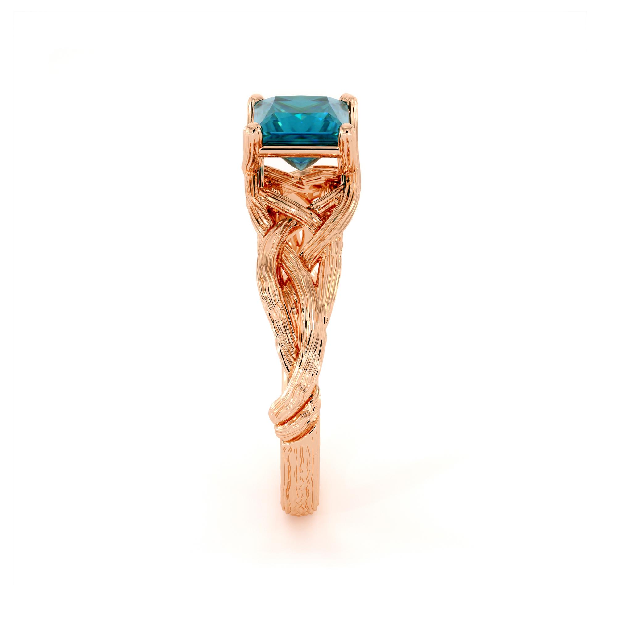 Twisted Branch Blue Diamond Ring 14K Rose Gold Nature Ring Princess Cut Diamond