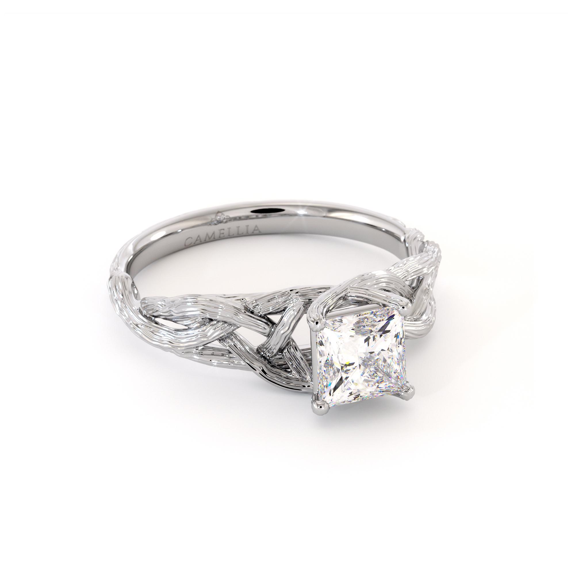 Branch Moissanite Princess Cut Ring Growing Branch White Gold Ring