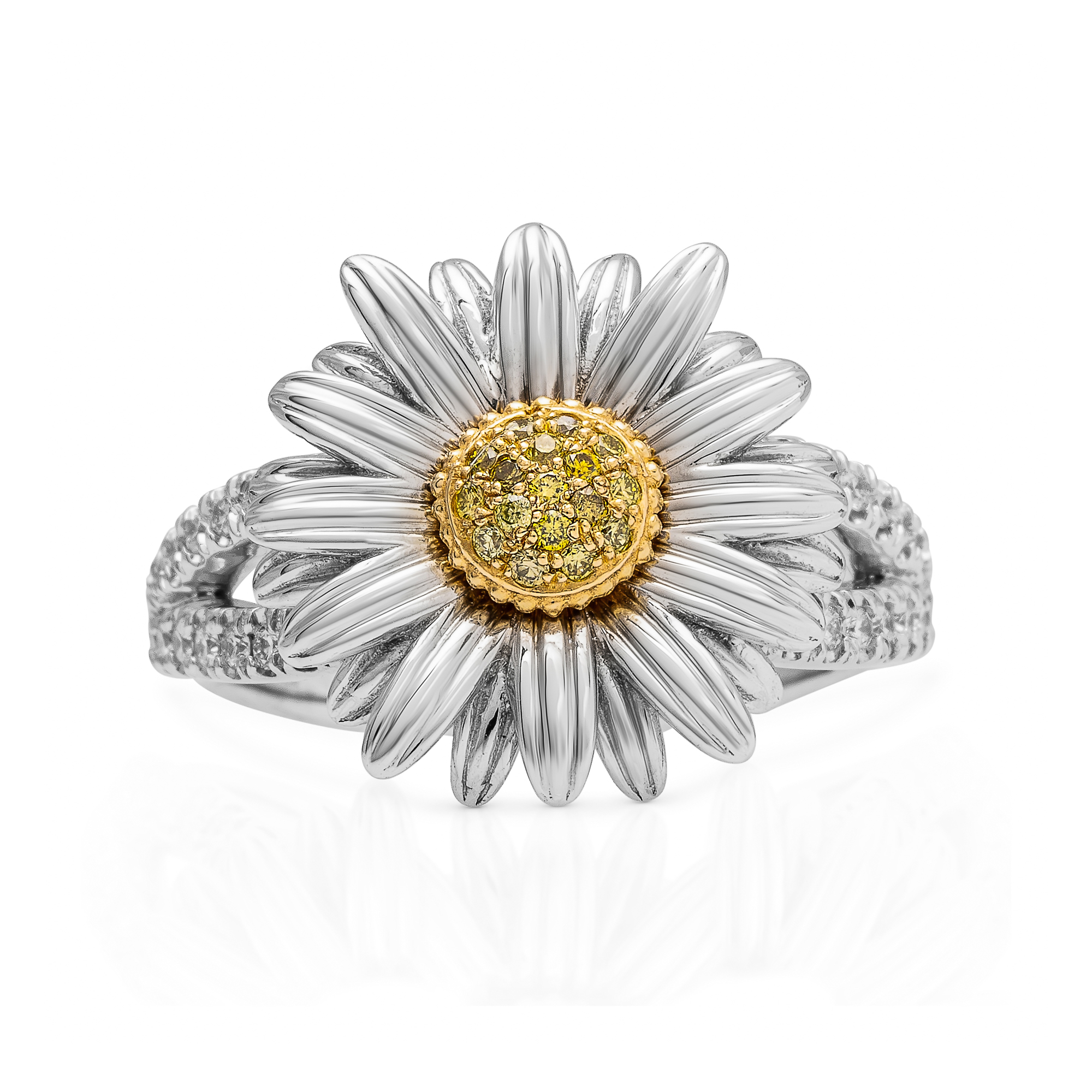 White SunFlower Ring Sunflower Ring with Yellow Diamonds by Camellia Jewelry