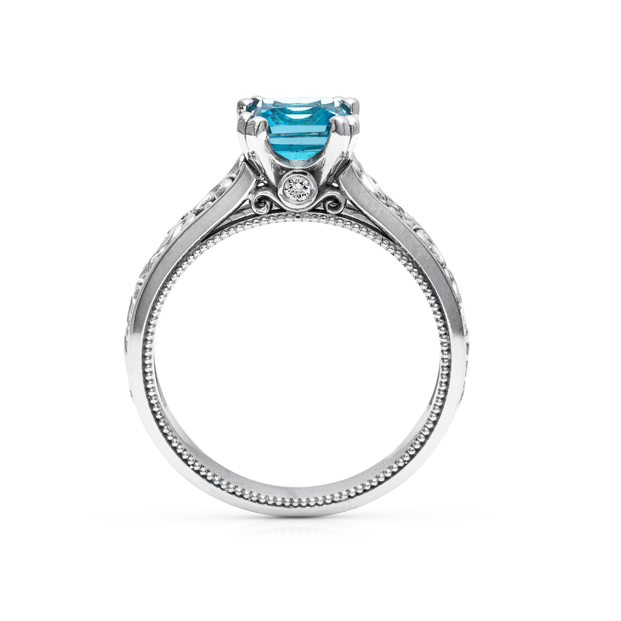 Princess Cut Blue Topaz Ring in 14K White Gold Unique Topaz Ring Princess Cut Engagement Ring Art Deco Ring