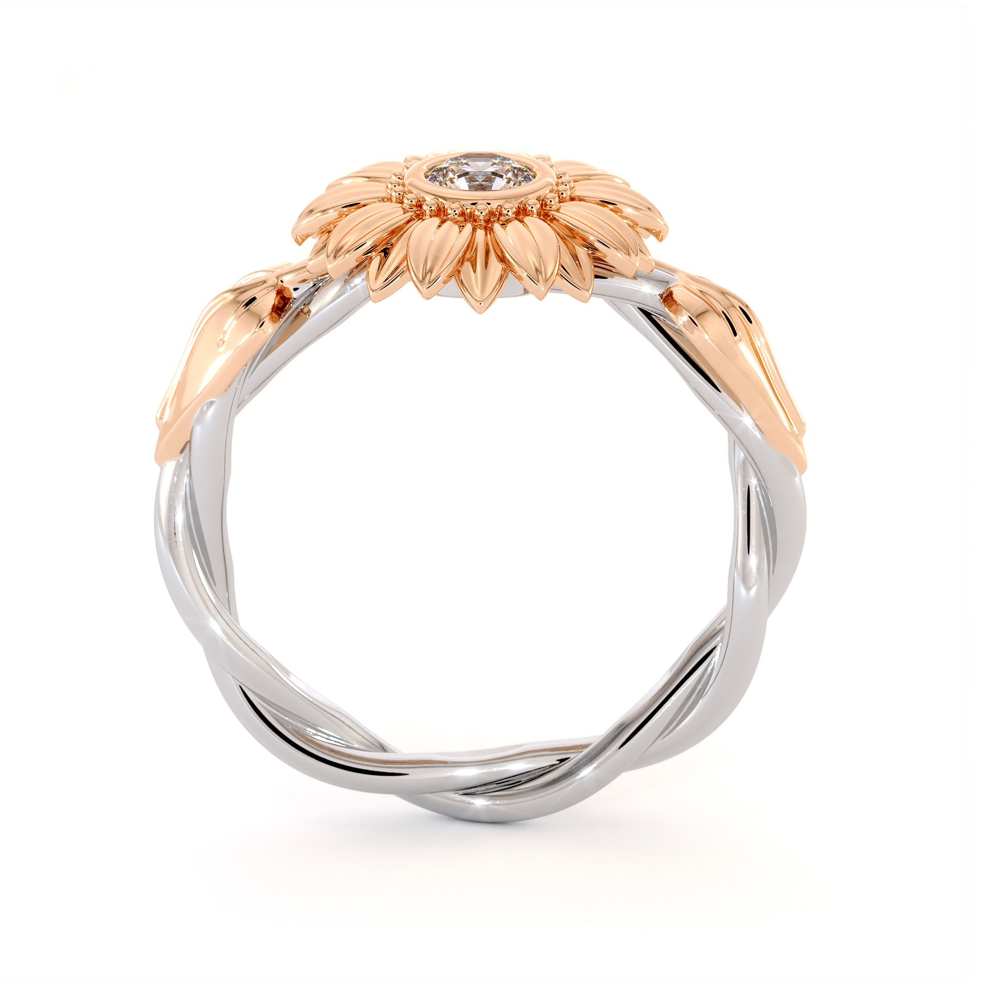 Unique Engagement Ring Natural Diamond 14K Gold Ring Sunflower Engagement Ring
