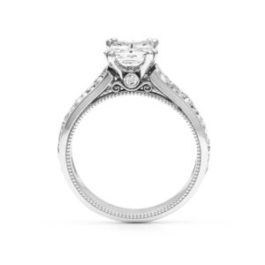 Filigree Ring Princess Cut Moissanite Engagement Ring White Gold Leaves Engagement Ring
