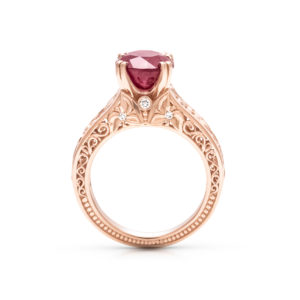 Vintage Ruby Engagement Ring Filigree Floral Leaf Engagement Ring Unique 14K Rose Gold Stackable Ring