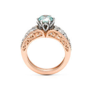 Art Deco Ring Blue Diamond Engagement Ring 14K Two Tone Gold Ring Unique Flower Leaves Ring