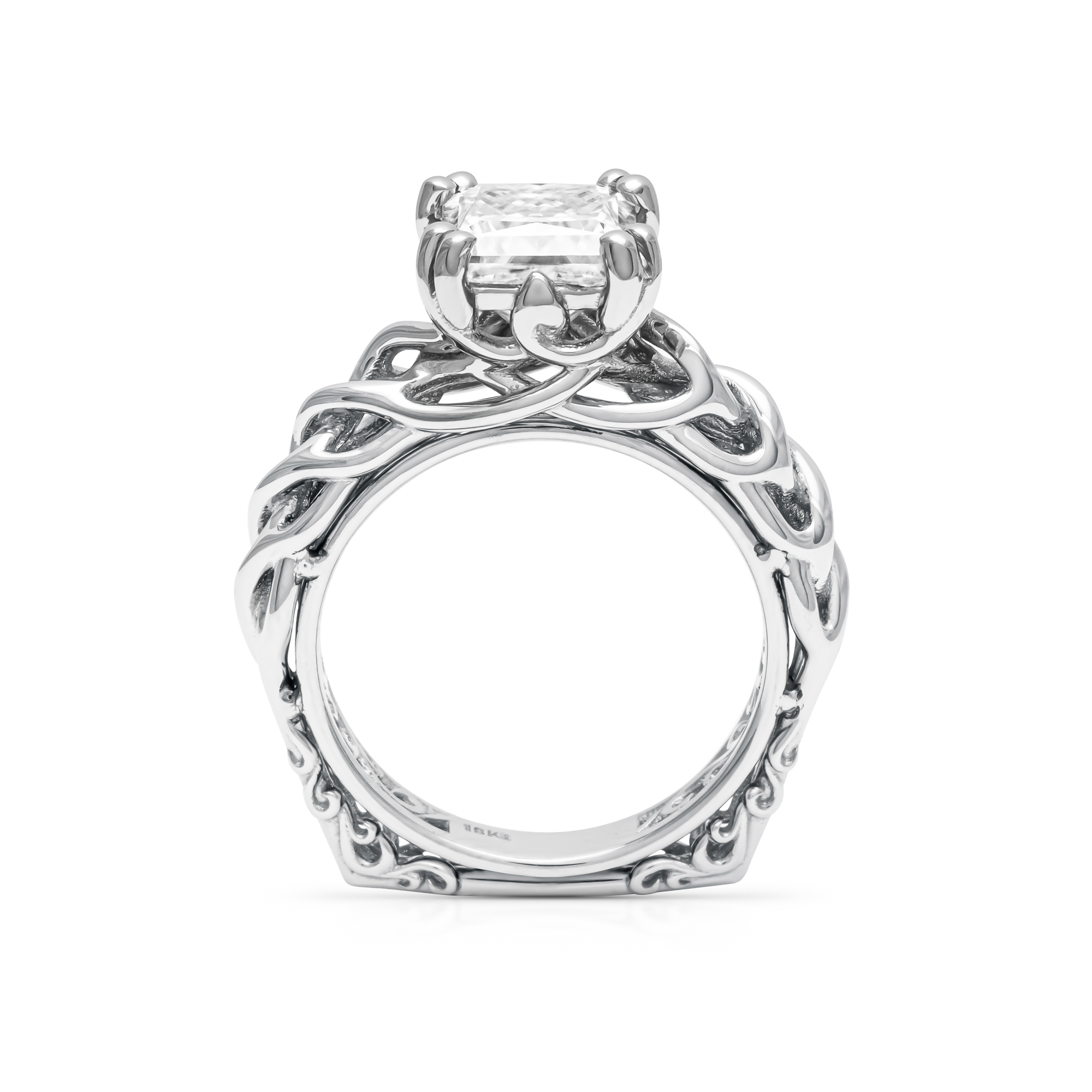 18K White Gold Engagement Ring Unique Solitaire Ring Wild Nature Ring Princess Cut Moissanite Ring