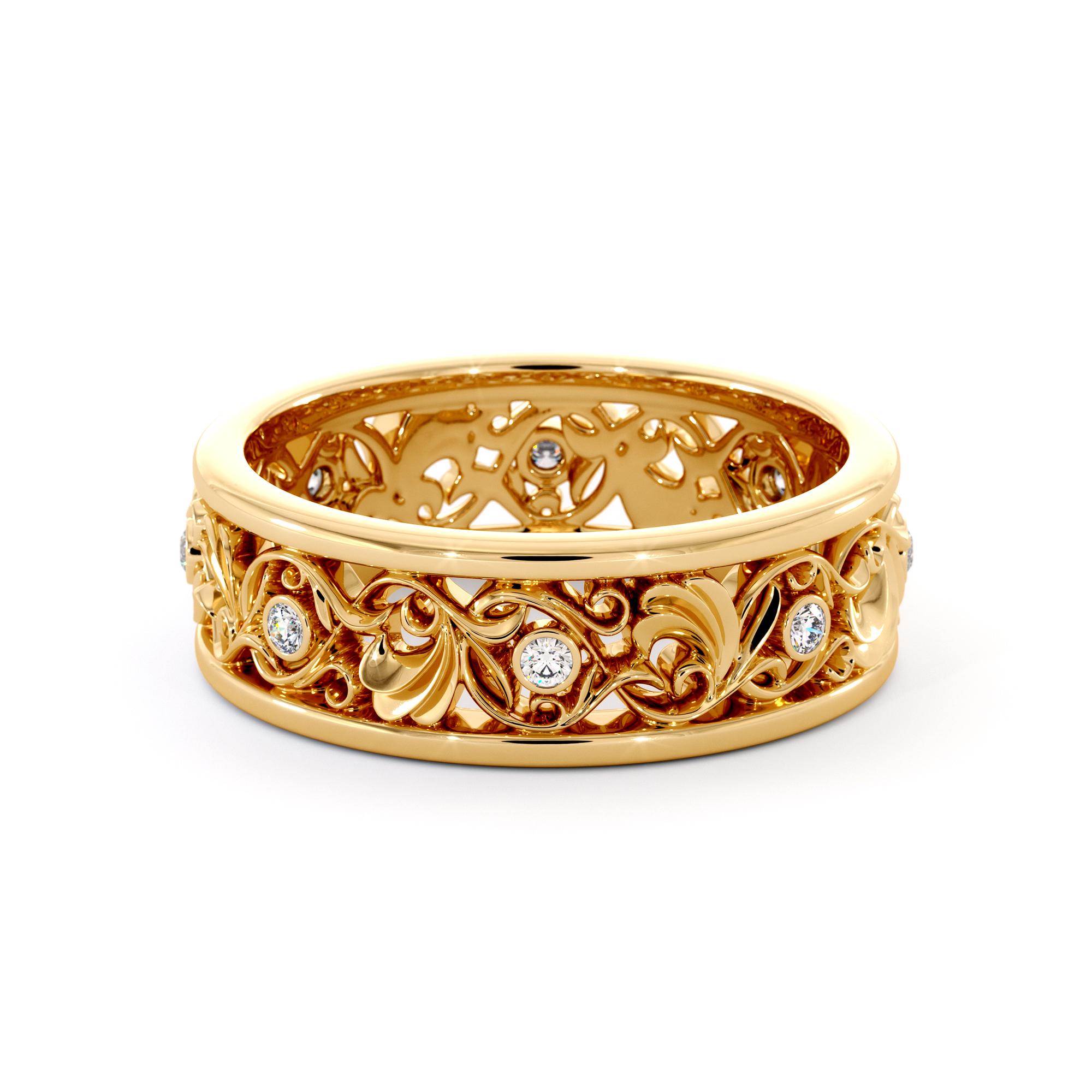 Vintage Diamonds Wedding Band Unique Woman's Wedding Ring 14K Gold Bridal Ring