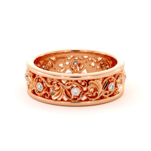 Floral Wedding Band Women's Wedding Band Unique Diamonds Ring Romantic gold Ring