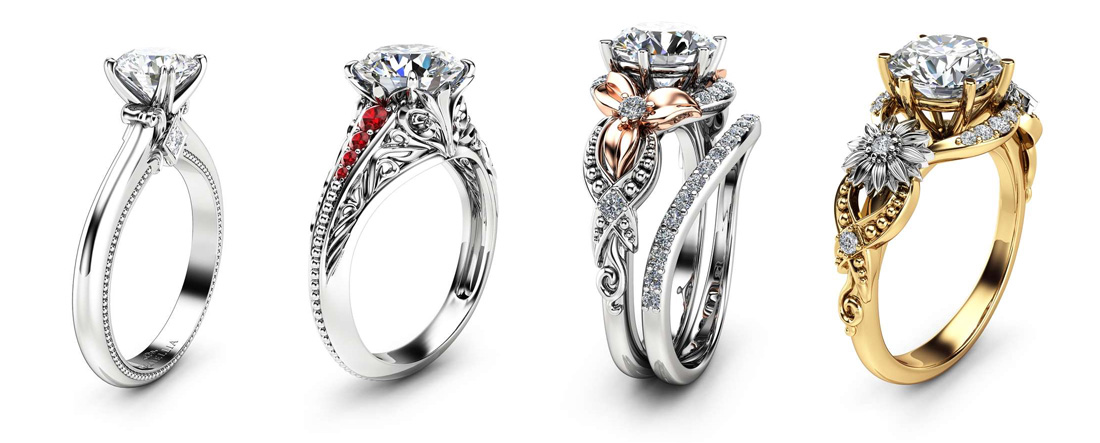 moissanite engagement ring camellia jewelry