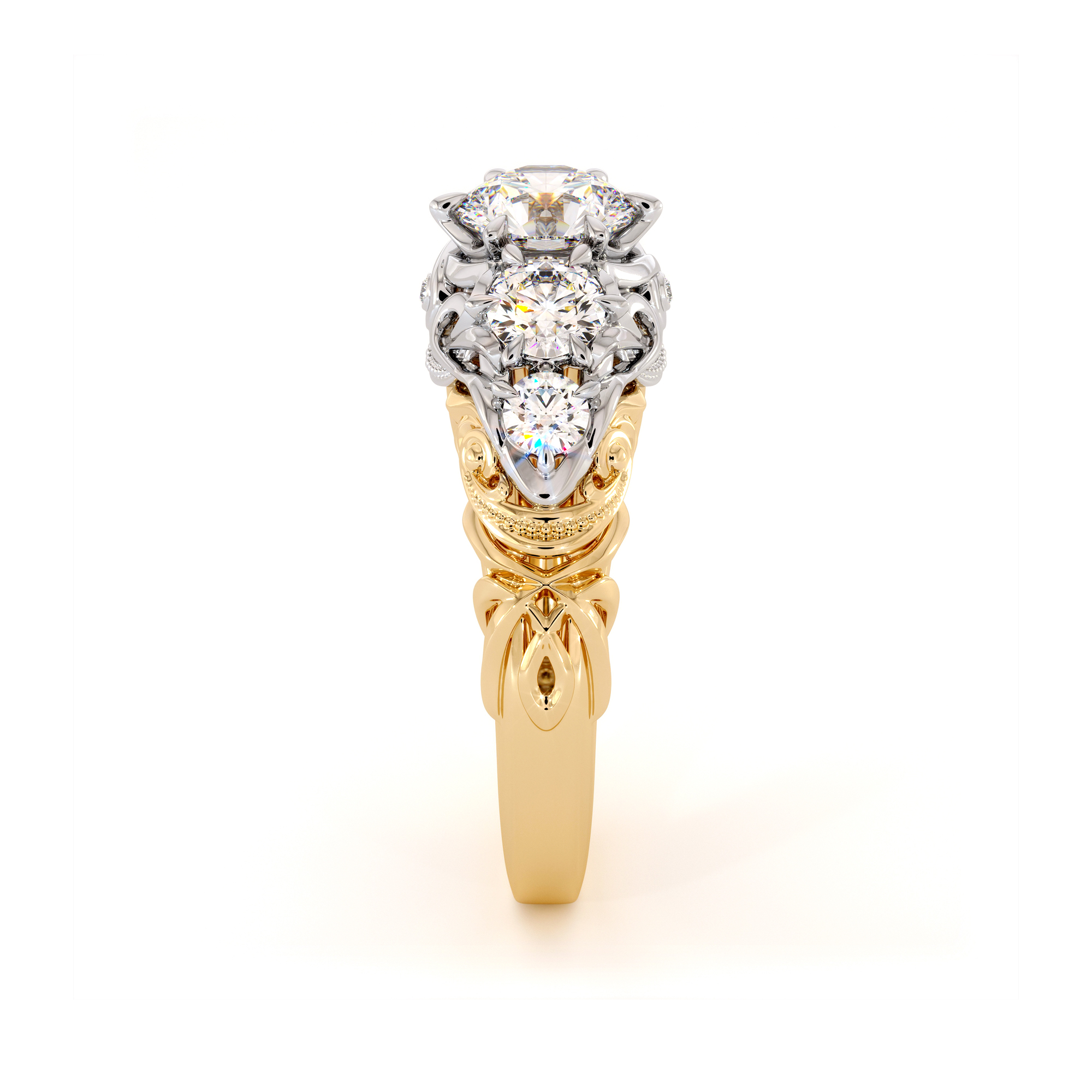 Unique Five Stone Timeless Engagement Ring