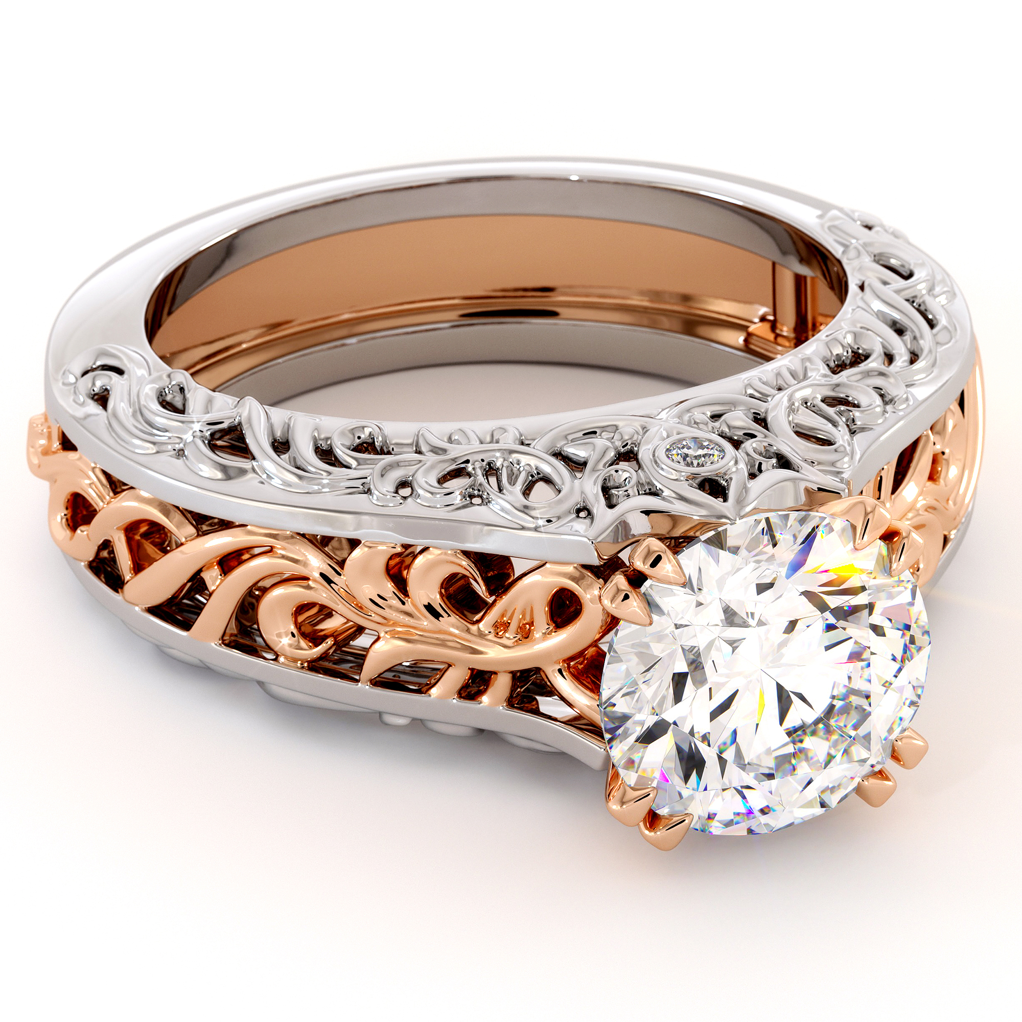 Splendid Royal 2 Carat Moissanite Gold Filigree Engagement Ring