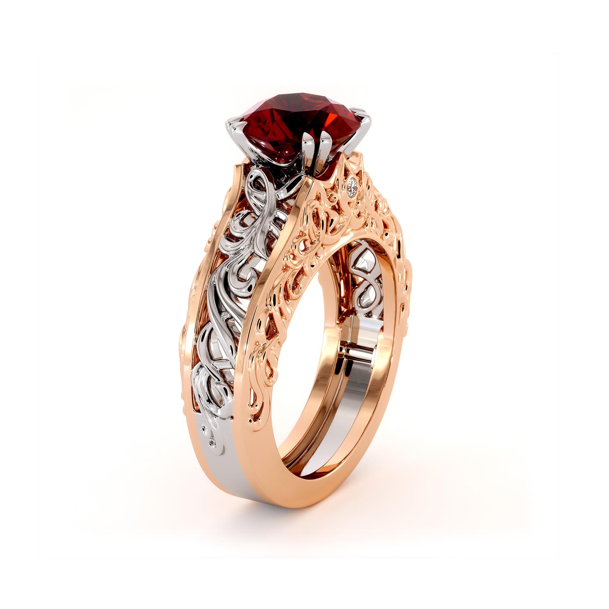 Natural Ruby 2 Tone Gold Filigree Splendid Royal Engagement Ring