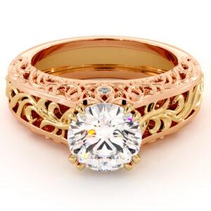 2 Carat Moissanite Two Tone Gold Splendid Royal Engagement Ring