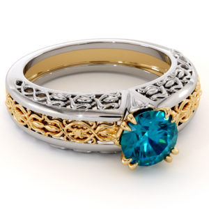 Royal Blue Diamond Two Tone Filigree Gold Engagement Ring