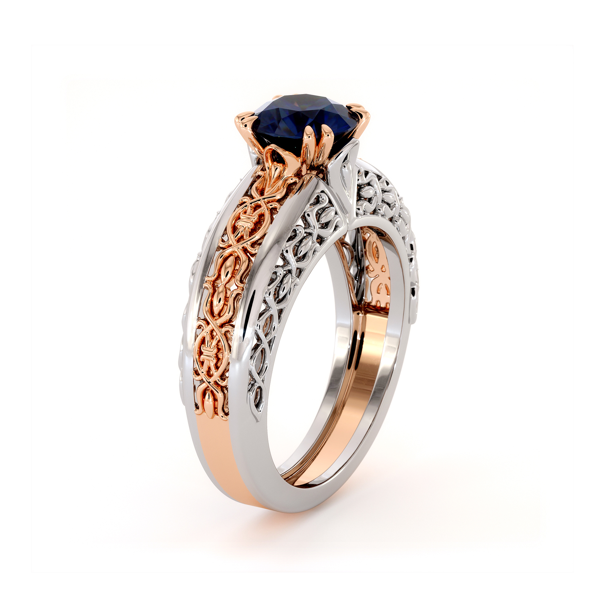 Royal Blue Sapphire Two Tone Gold Engagement Ring