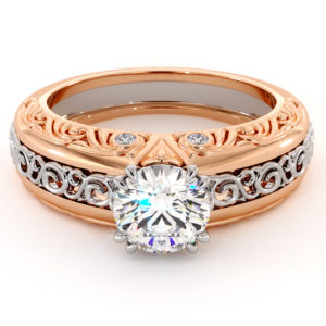 Round Moissanite In Two Tone Solid Gold Regally Designed Bridal Ring