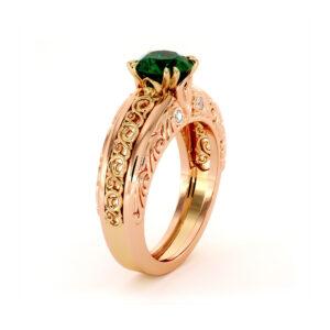 Unique Emerald In 2 Tone Gold Regally Designed Anniversary Ring
