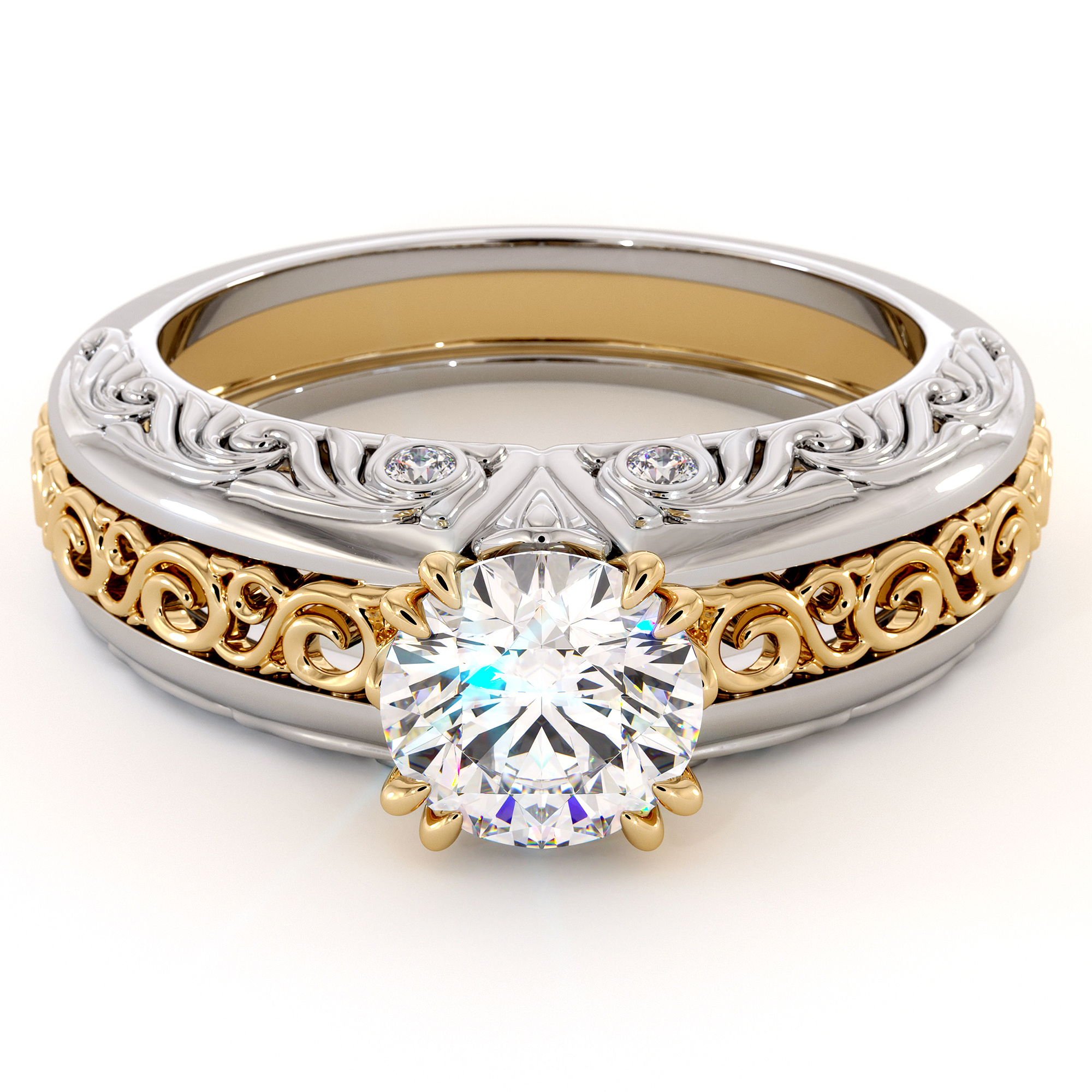 Regally Designed Diamonds Moissanite In Two Tone Gold Engagement Ring