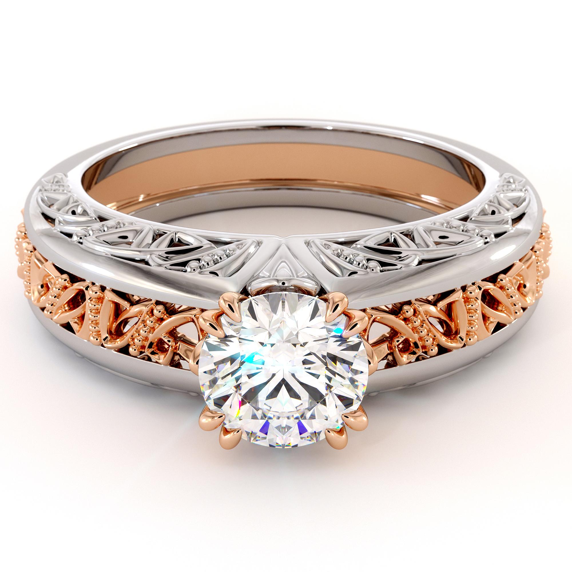 Handmade Majestic Round Moissanite Gold Ring