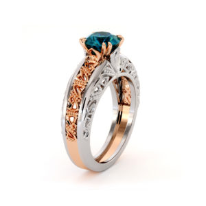 Majestic Round Blue Diamond 2 Tone Gold Handmade Ring