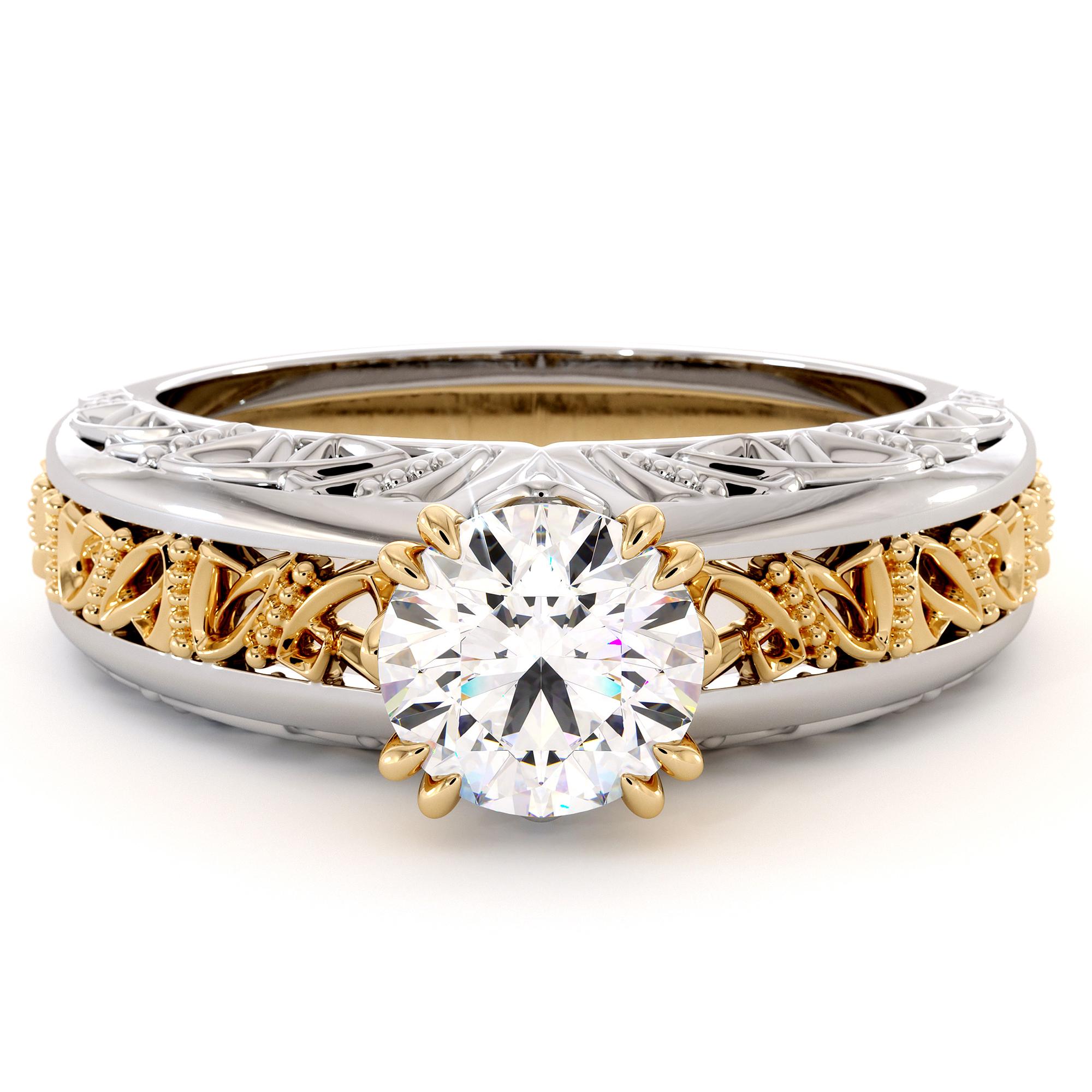 Majestic Round Moissanite 2 Tone Filigree Gold Ring