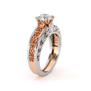 Magnificent Moissanite 2 Tone Gold Filigree Engagement Ring