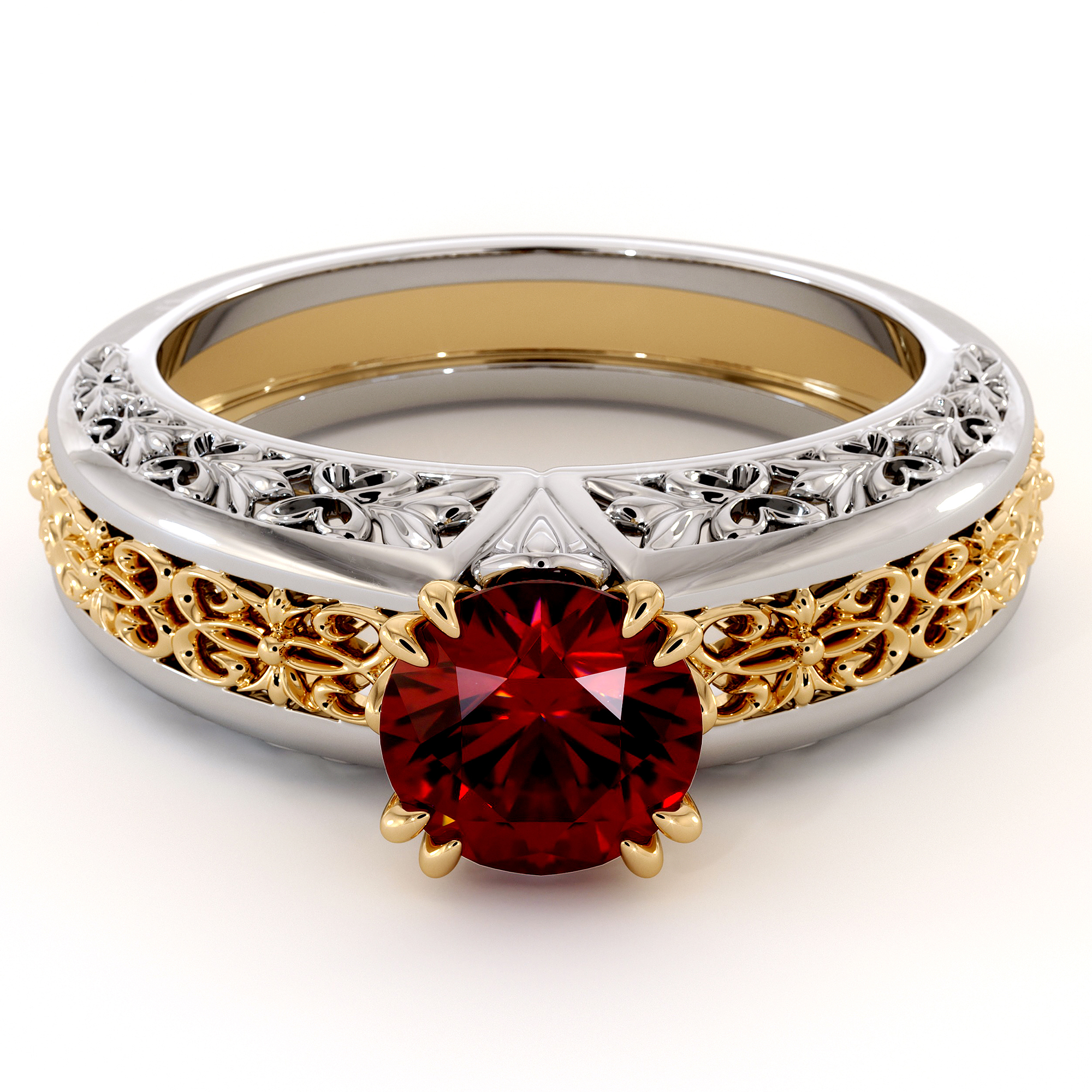 Magnificent Round Ruby 2 Tone Gold Engagement Ring