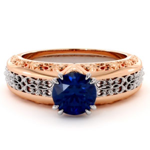 Magnificent Blue Sapphire 2 Tone Gold Engagement Ring