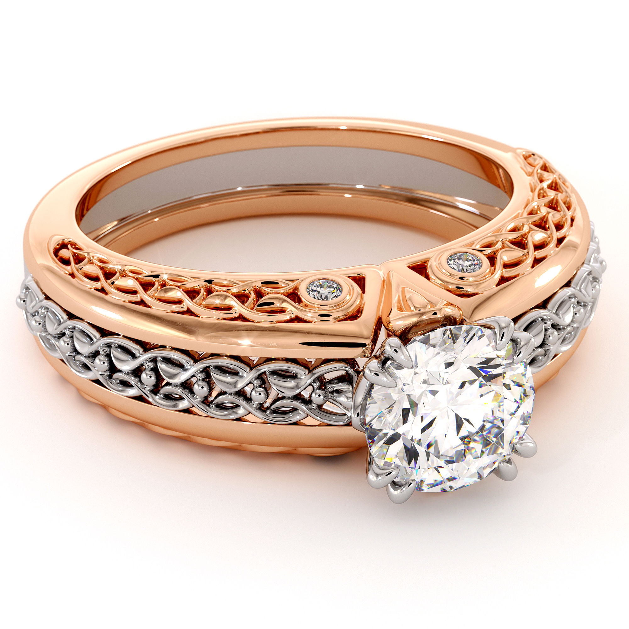 Princely White And Rose Gold Moissanite Engagement Ring