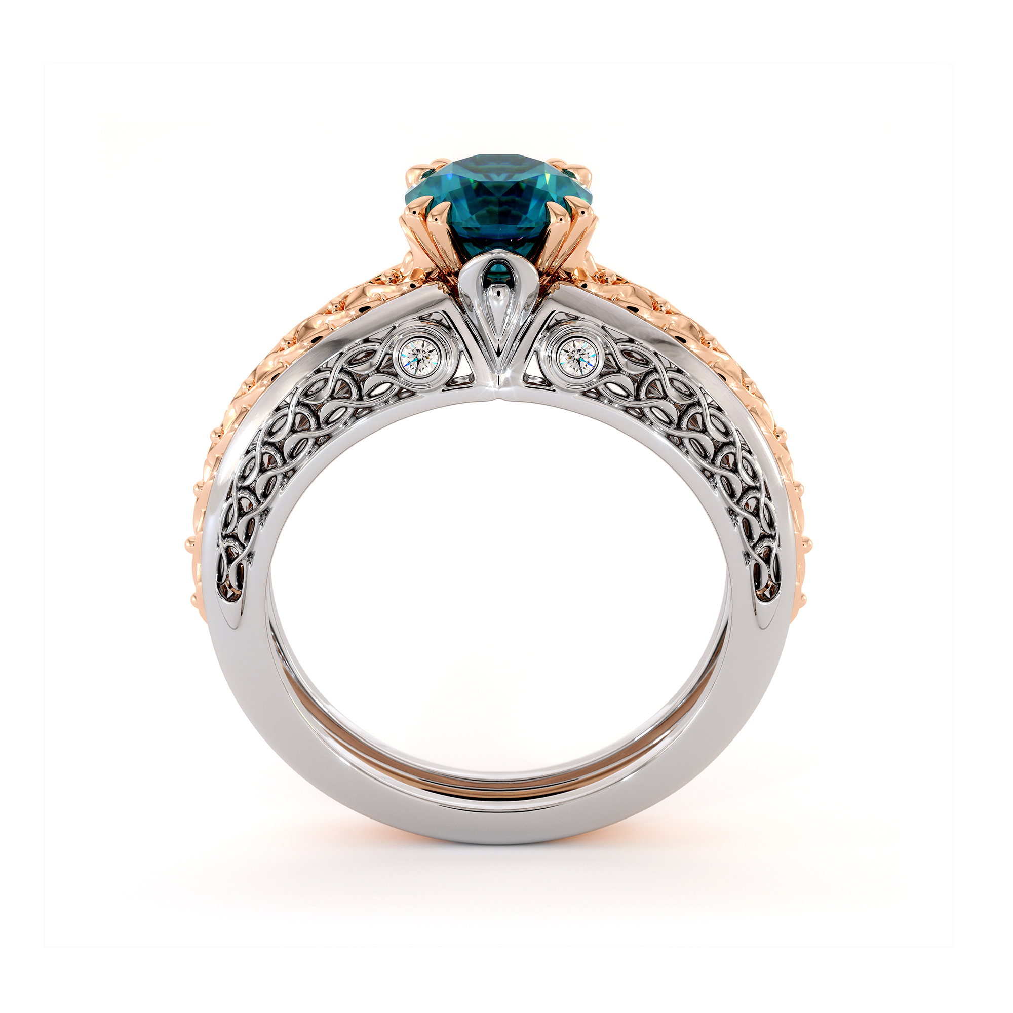 Princely Blue Diamond White And Rose Gold Engagement Ring
